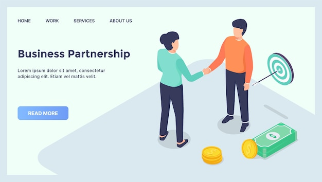Деловое партнерство заключает сделку для веб-сайта с шаблоном посадки с современной изометрической квартирой