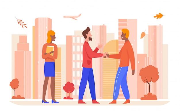 ビジネスパートナーシップの図。パートナーと手を振って漫画幸せなビジネスマン、白の落ちたオレンジ色の葉を持つ現代の秋の街並みで成功した秋の契約