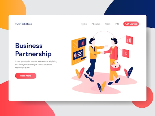 Business partnership illustration for web page