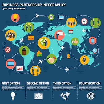 Business partnership infographic template with world map