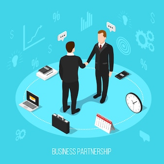 Business partnership isometric background