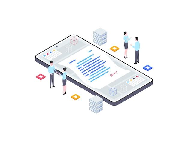 비즈니스 파트너십 아이소메트릭 그림입니다. 모바일 앱, 웹사이트, 배너, 다이어그램, 인포그래픽 및 기타 그래픽 자산에 적합합니다.