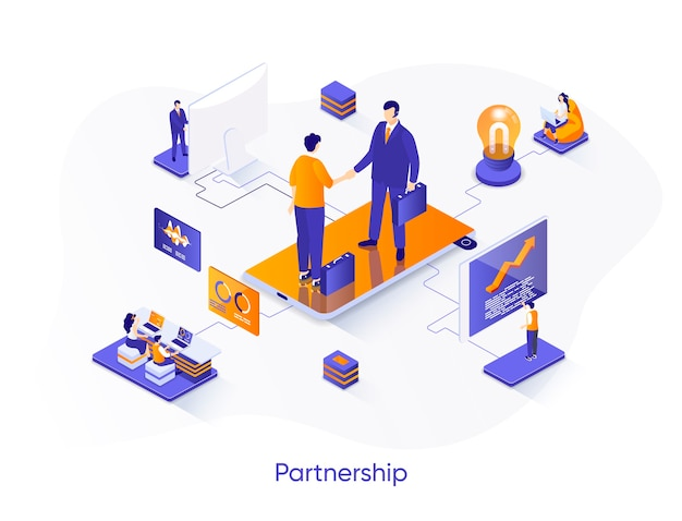 Business partnership isometric   illustration with people characters