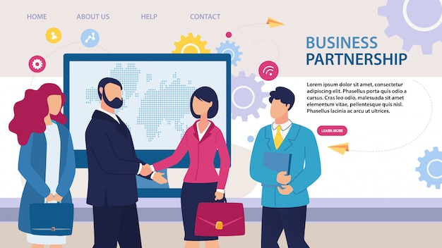 Business partnership landing page flat design