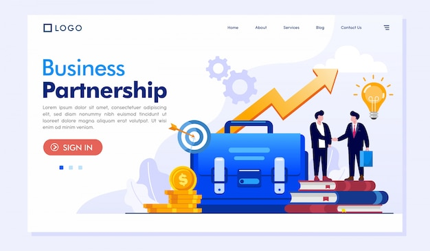 Business partnership landing page illustration vector template