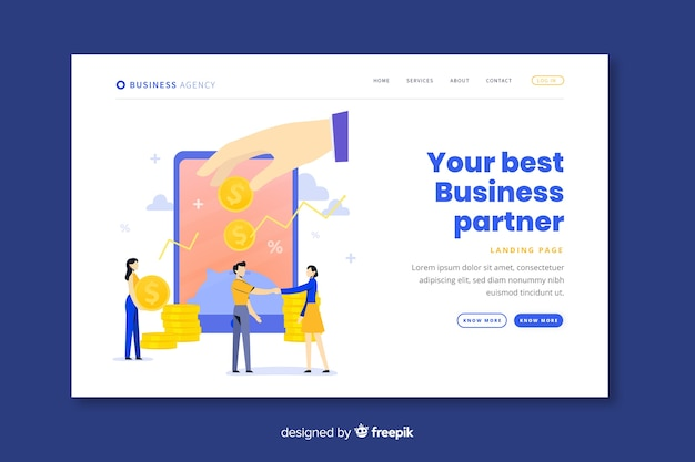 Business partnership landing page template