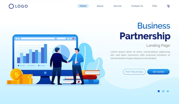 Business partnership landing page website illustration