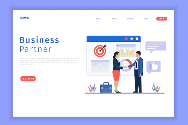 Business partnership landing page