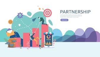 Business partnership relation concept