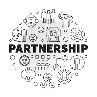 Business partnership round icon illustration in line style