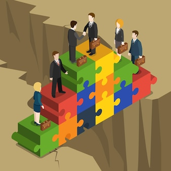 Business partnership solution flat isometric concept  businessmen businesswomen handshake on puzzle piece pyramid build over abyss.