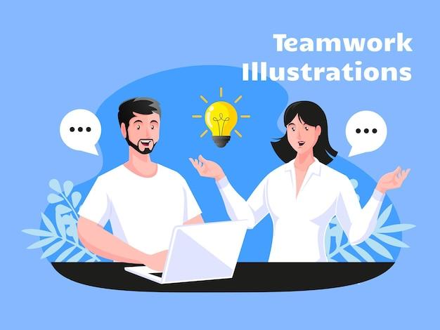 ビジネスパートナーシップチームワークの概念