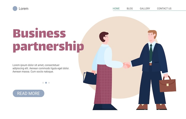人々の漫画のベクトル図とビジネスパートナーシップのウェブサイトのバナー