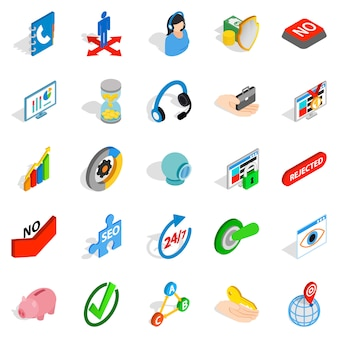 Business payment icons set, isometric style