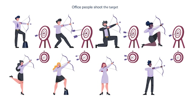 Business people aiming in target and shooting with arrow set. employee shoot the target. ambitious man and woman shooting. idea of success and motivation.