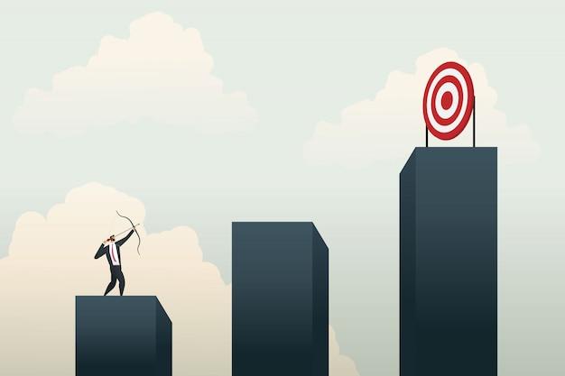 グラフ上のターゲットを目指してビジネス人々。コンセプト事業