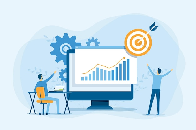Business people analytics and monitoring on financial investment report dashboard