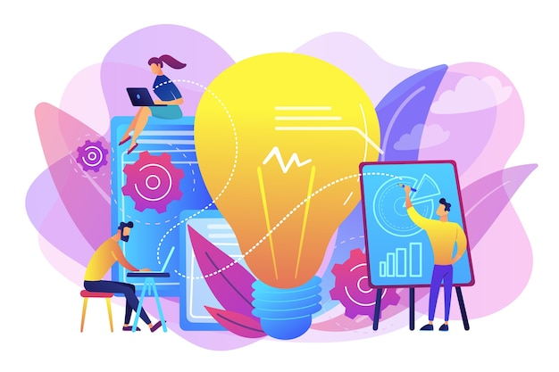 Business people analyzing and lightbulb. competitive intelligence and environment, information and marketplace analysis concept