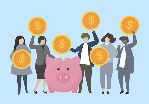 Деловые люди и банкиры с деньгами
