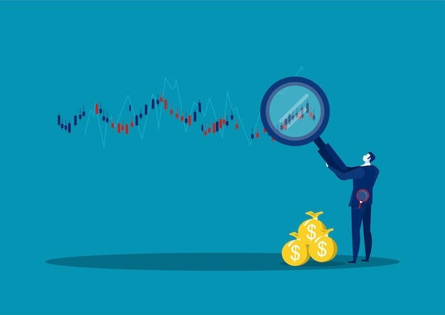 Деловые люди и база данных фондового рынка, иллюстрация информационного графика