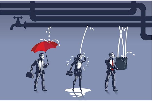 ビジネスマンは、漏れているパイプから水が出てくることを期待していますブルーカラーの概念図
