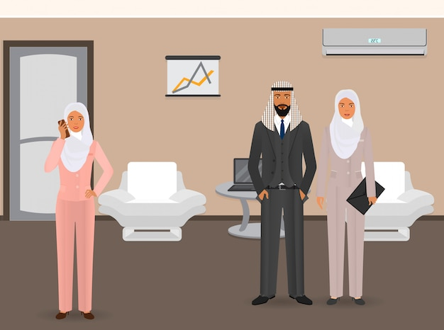Business people . arab business people standing in the office. businessman and businesswomen at office interior.