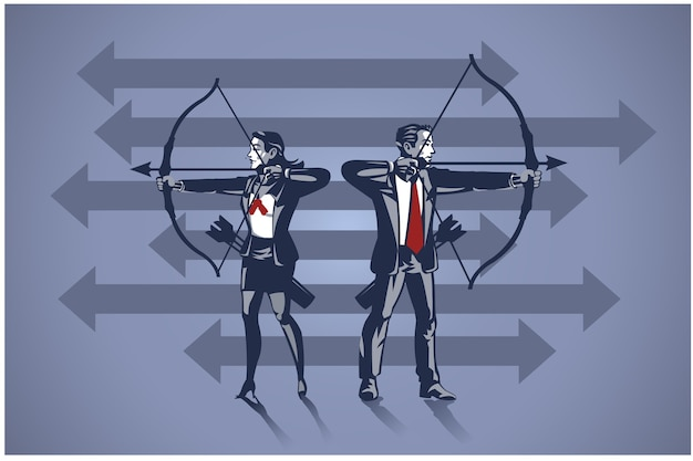 Business people archer ready to shoot arrow. business illustration concept of business aiming target
