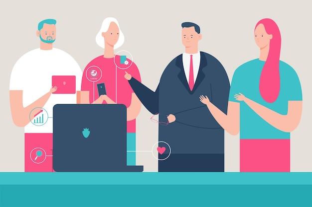 비즈니스 사람들이 노트북 테이블에있는 사무실에서 회사의 마케팅 전략에 대해 논의하고 있습니다. 팀워크 .