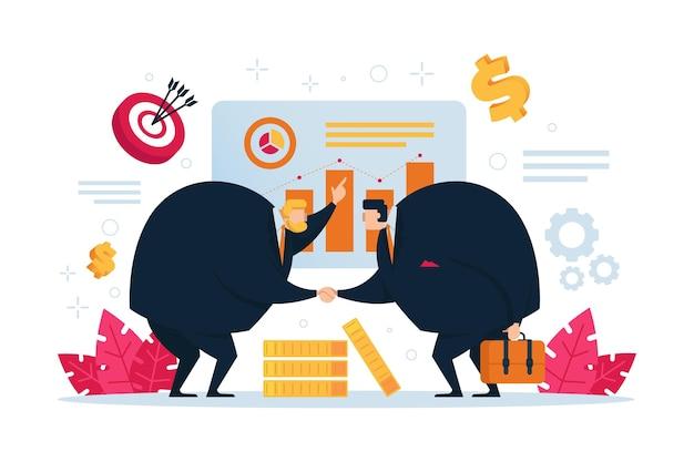 비즈니스 사람들은 회사 회의에서 대화에 참여합니다. 비즈니스 마케팅 평면 디자인입니다.