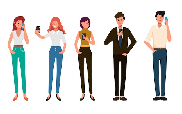 Business people are using mobile phone for social media network communication .