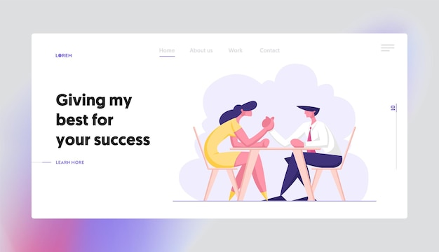 Business people armwrestling concept landing page set