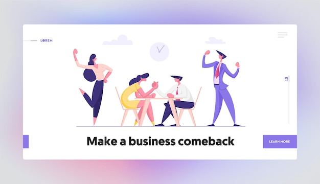 Business people armwrestling with support group cheering concept landing page set