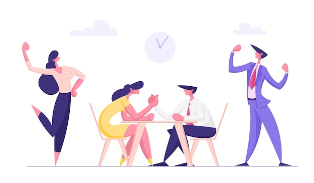 Business people armwrestling with support group cheering flat illustration