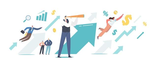 거대한 상승 화살표에서 비즈니스 사람들은 성공으로 이동합니다. 성장하는 화살표 차트에 망원경 모양의 남성 캐릭터. 성공적인 리더 재정적 성공, 경력 성장 개념. 만화 벡터 일러스트 레이 션