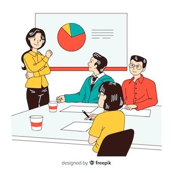 한국 그리기 스타일의 사무실에서 사업 사람들