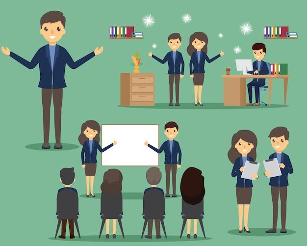 オフィスセットのビジネス人々。ポーズと感情。オフィスや仕事でさまざまなポーズでビジネス。 Premiumベクター