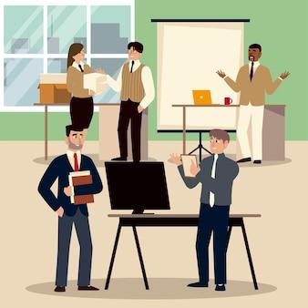 팀워크, 사무실 직원과 직장에서 사업 사람들