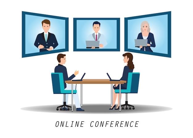 Деловые люди, посещающие видеоконференцию на столе