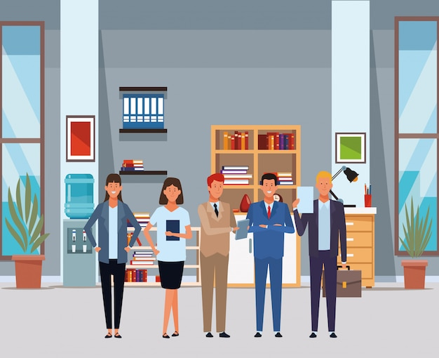 Business people avatar cartoon characters in the office