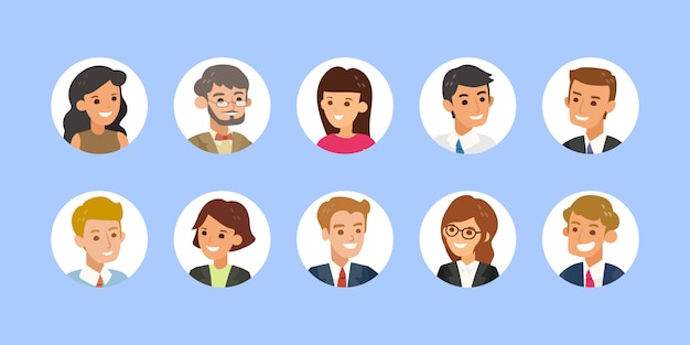 Business people avatar collection. young adults man and woman faces, colorful user pic icons in circle shape. flat design style cartoon illustration isolated.
