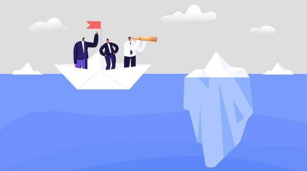 Business people avoid hidden danger, crisis, bankruptcy. dangerous risk concept