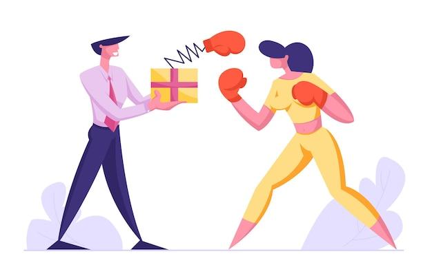 비즈니스 사람들이 권투. 상자를 들고 남자와 싸우는 여자