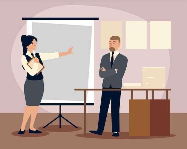 Business people, business man and woman with board presentation plan offfice  illustration