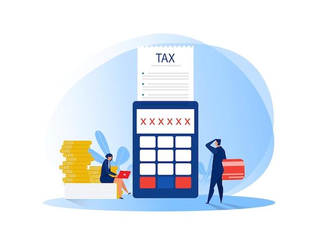 税金のフラットイラストのドキュメントを計算するビジネスマン