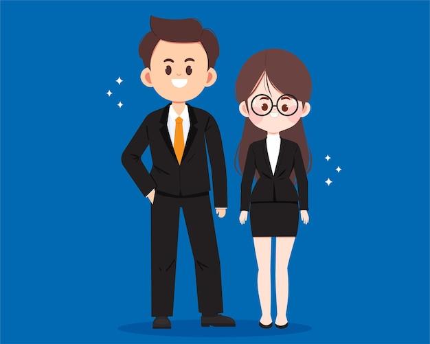 비즈니스 사람들이 만화 캐릭터 아트 그림
