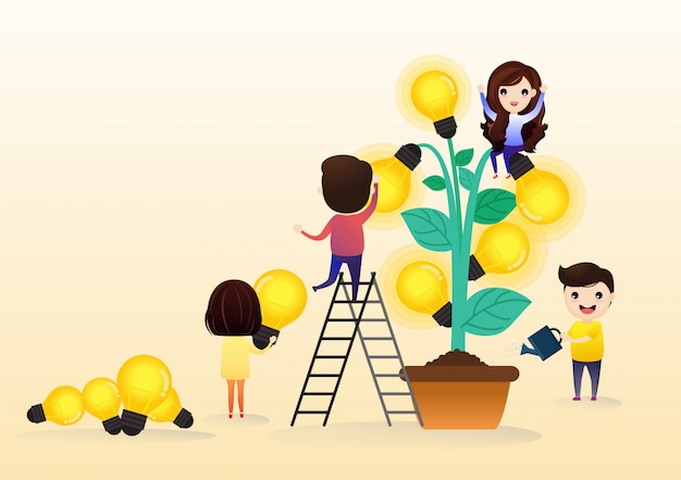 Business people cartoon character and concept of growing company with tree light bulb symbol