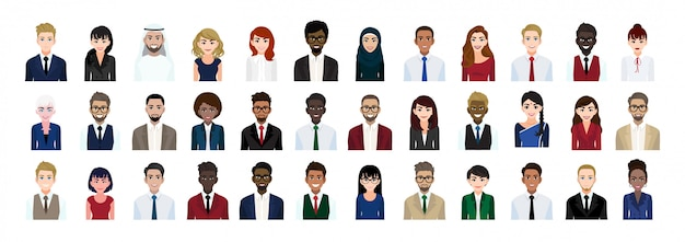 Business people cartoon character head collection set