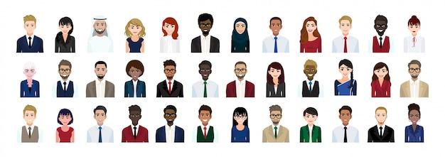 비즈니스 사람들이 만화 캐릭터 머리 컬렉션 집합