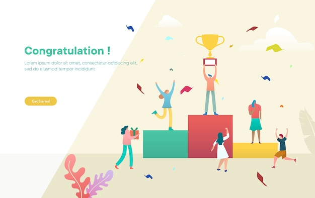Business people celebrate team success  illustration concept, people celebrate victory and holding trophy,  can use for, landing page, template, ui, web, mobile app, poster, banner, flyer
