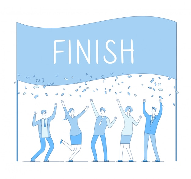 Business people celebrating successful deal at finish line